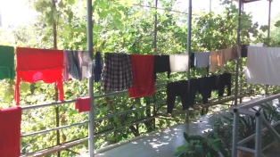 Our veranda, with my laundry hanging on the line