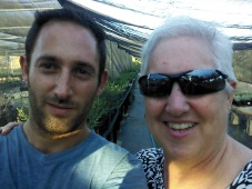 Mother and son at Rancho Santa Ana Botanical Gardens, where he has an internship