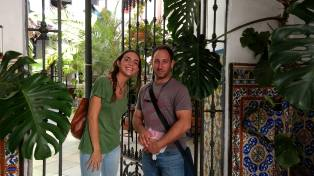 Eli and Marta at the entrance to the hotel